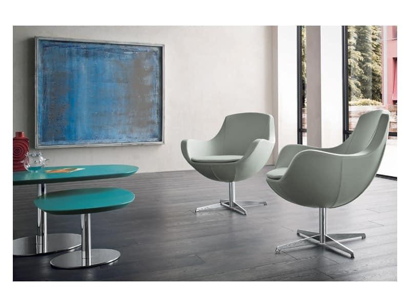 Poltroncina moderna con base in metallo cromato idfdesign - Poltrone moderne design ...