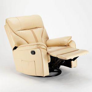 Poltrona Relax Reclinabile Dondolo Poggiapiedi Rotazione 360 Tessuto SISSI XL - SR683PEE, Poltrona relax con sistema dondolo