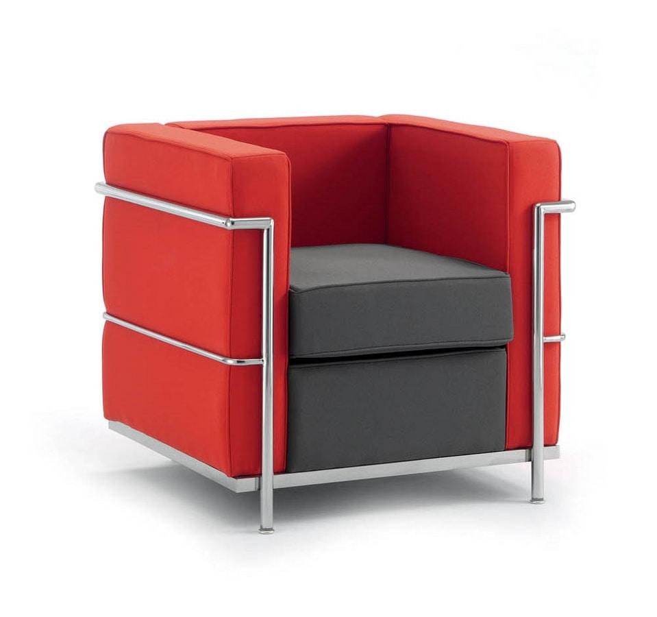 Poltrona comoda struttura in acciaio cromato per ufficio for Poltrone moderne amazon