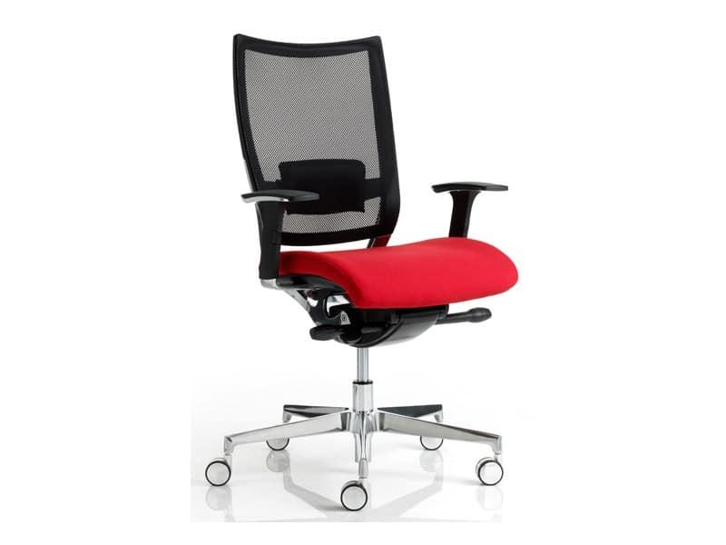 CONCEPT 3, Sedia operativa per ufficio, seduta imbottita, schienale a rete - IDFdesign