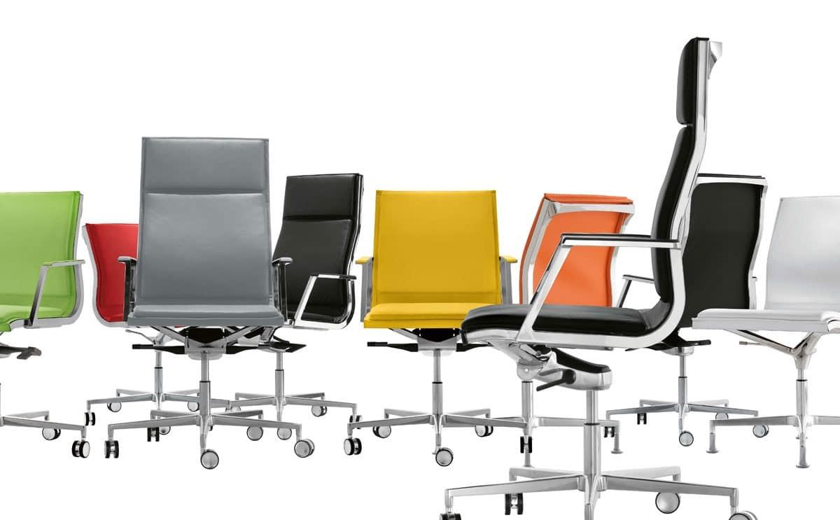 Poltrona ufficio con base cromata per direzione idfdesign for Negozi sedie ufficio