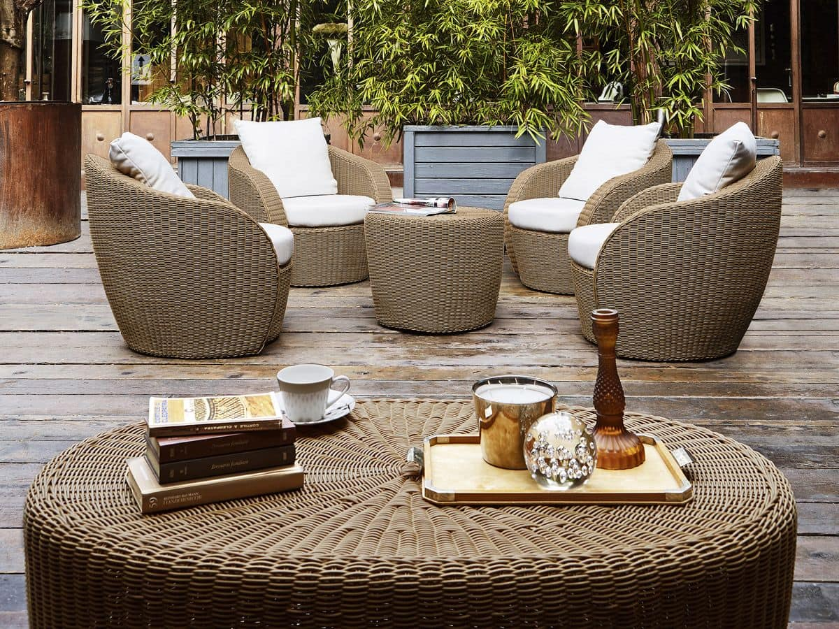 Poltrona in vimini per terrazzo giardino o bar spiaggia for Poltrone da balcone