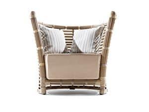 Tonkino poltrona, Poltrona intrecciata, con ampio cuscino, per giardini e terrazzi