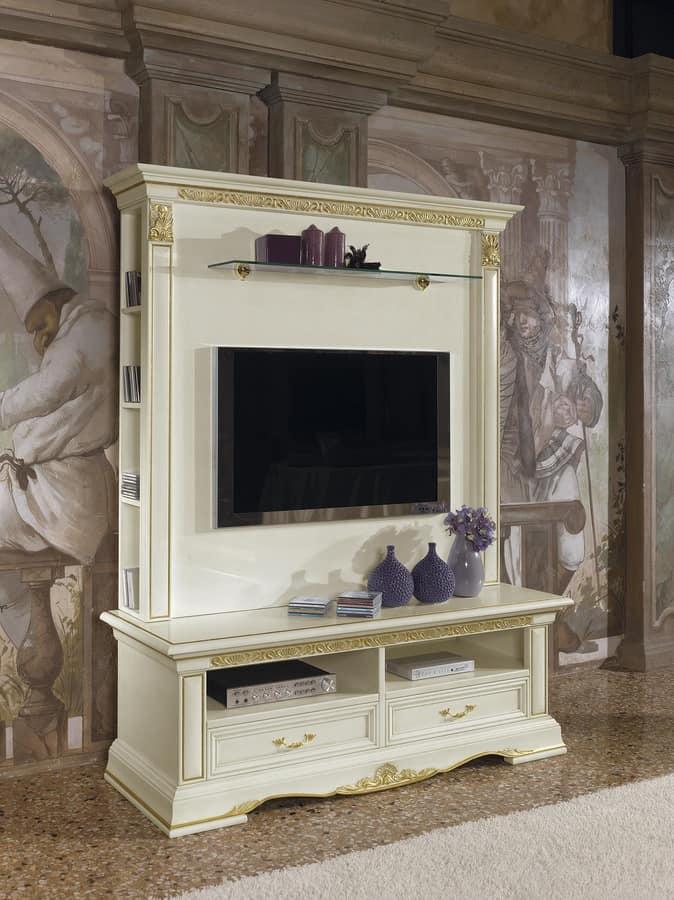 Alzata per porta tv con ripiani decorazioni in foglia oro idfdesign - Decorazioni in legno per mobili ...