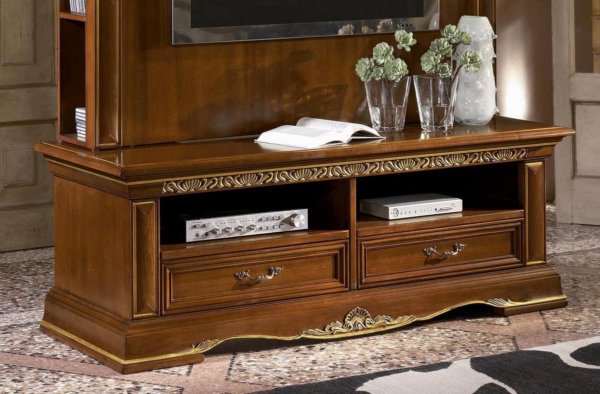 Porta tv classico in legno intagliato, finitura a foglia oro | IDFdesign