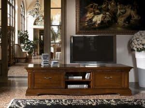 Art. 1752 Vivaldi, Porta tv lungo in legno, per salotti classici di lusso