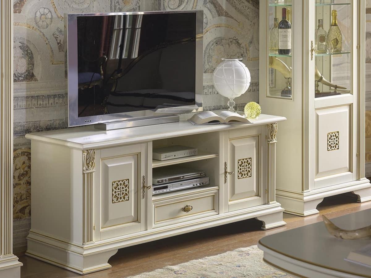 Porta tv con 2 ante e 1 cassetto in stile classico di for Mobili wooden art