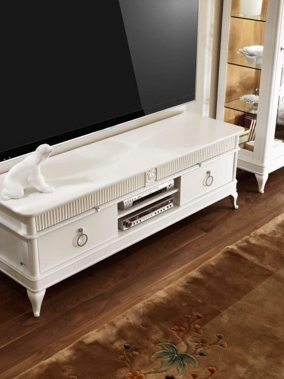 Mobile porta tv con cassetti in legno intagliato idfdesign - Mobile porta tv classico legno ...
