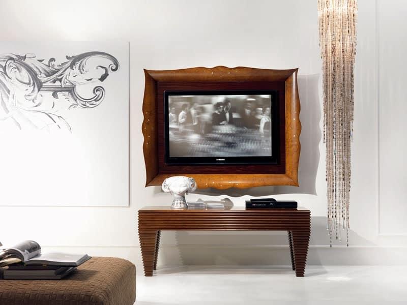 Cornice per tv in legno classico di lusso per salotto idfdesign - Mobili per tv in legno ...