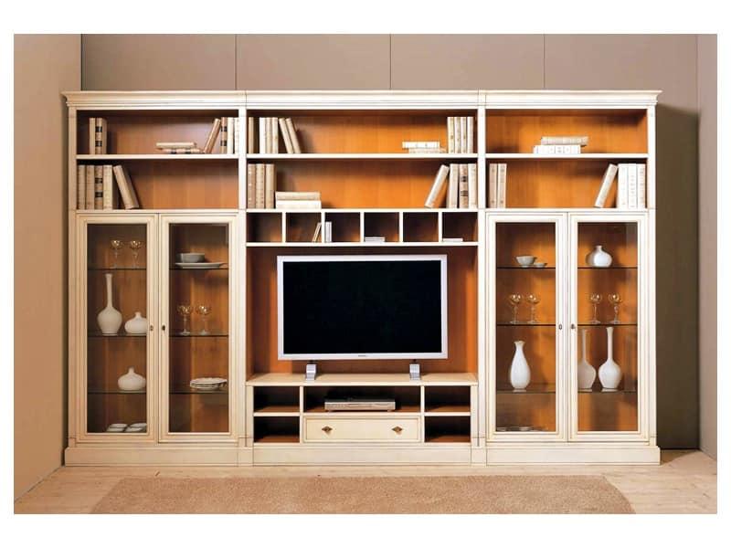 Parete soggiorno realizzabile su misura idfdesign for Arredamento classico lusso