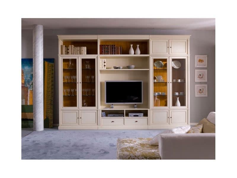 Parete soggiorno con ante e ripiani stile classico for Arredamento classico lusso