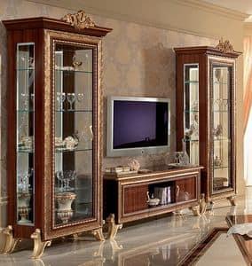 Giotto mobile TV 02, Porta tv classico con vetrine laterali, con decori dorati