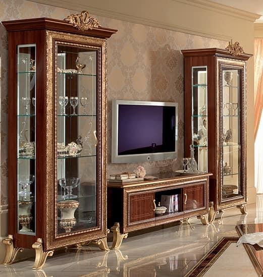 Porta tv classico con vetrine laterali, con decori dorati | IDFdesign