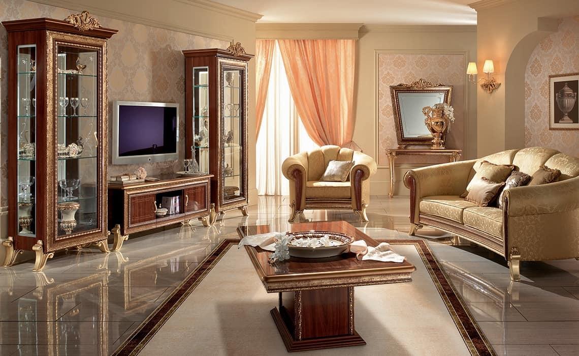 Porta tv classico con vetrine laterali con decori dorati for Stile contemporaneo mobili