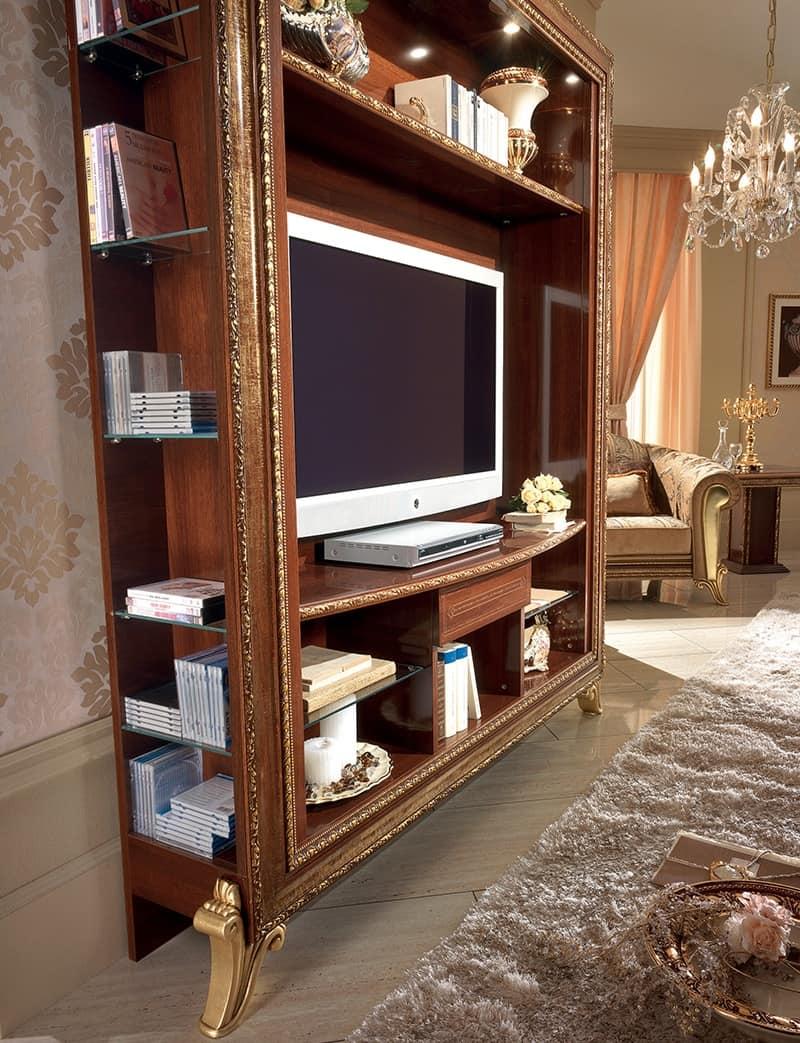 Porta tv con libreria con decori dorati semplice e - Mobili porta tv classici ...