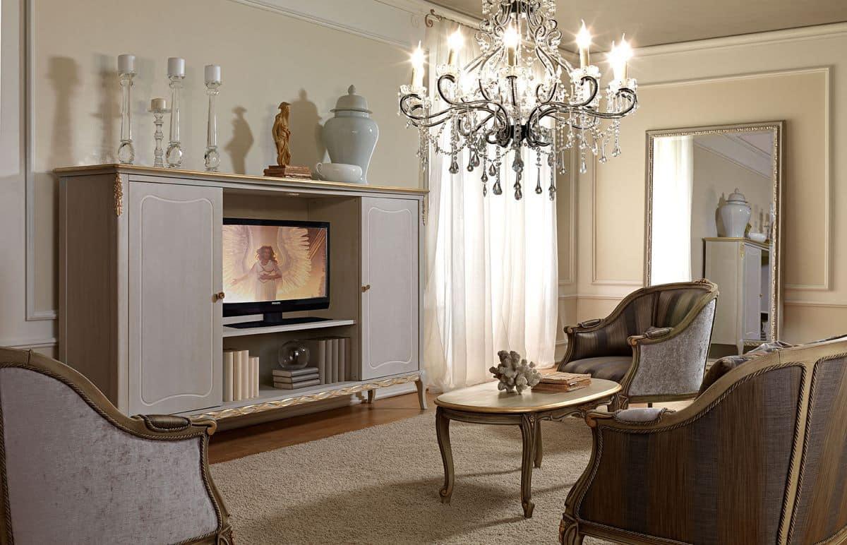 Mobile porta tv, in stile classico, realizzato in legno decorato ...