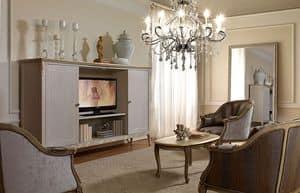Live 5309-TV porta tv, Mobile porta tv, in stile classico, realizzato in legno decorato artigianalmente