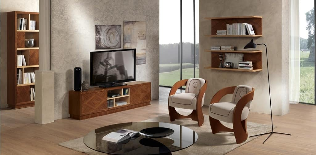 Porta tv in legno intarsiato per salotti classici idfdesign - Porta tv classici ...