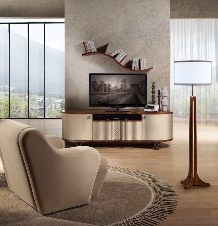 Porta tv in legno rivestito in pelle piedini in acciaio - Ripiano porta tv ...