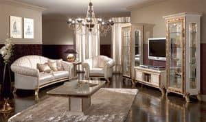 Raffaello mobile tv, Porta tv di lusso, laccato bianco perlato con decori dorati