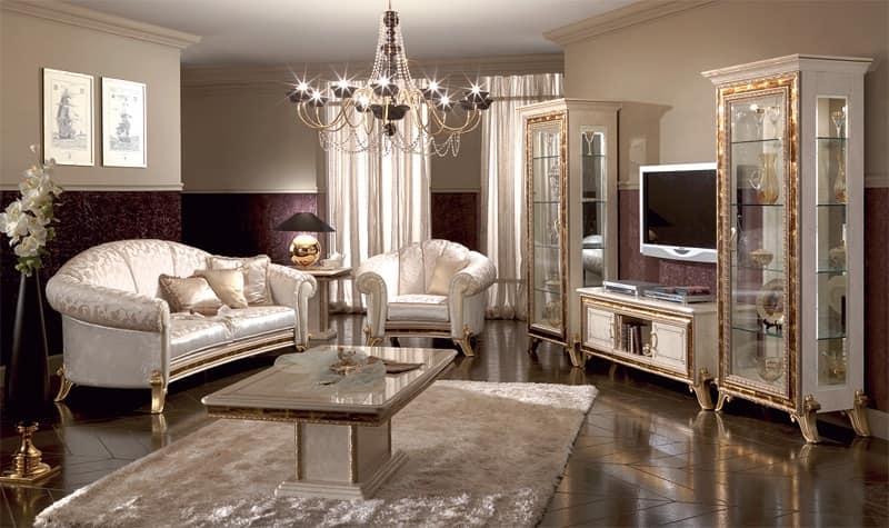 Porta tv di lusso laccato bianco perlato con decori - Mobili porta tv classici ...