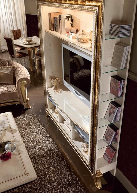 Porta tv di lusso laccato bianco perla decori in oro - Mobili porta tv classici ...