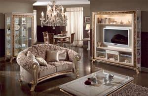 Raffaello parete tv, Porta tv di lusso, laccato bianco perla, decori in oro