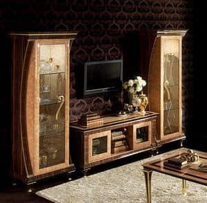 Rossini mobile TV 02, Mobile porta tv con 2 vetrine laterali, in radica