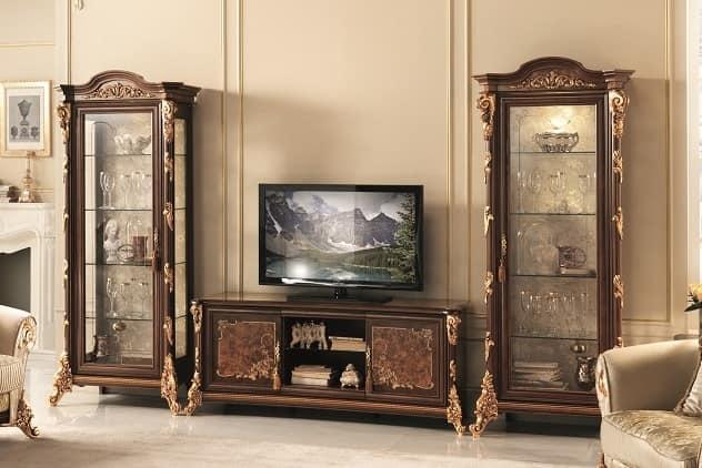 Porta Tv Foglia Oro.Porta Tv Con Vetrine Con Decorazioni In Foglia Oro Idfdesign