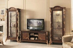 Sinfonia mobile TV, Porta tv con vetrine, con decorazioni in foglia oro