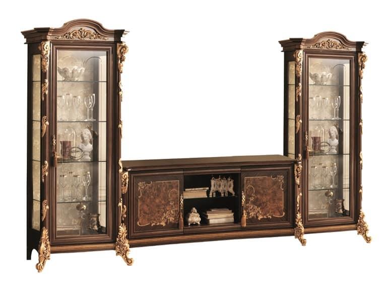 Porta tv con vetrine con decorazioni in foglia oro - Mobili porta tv classici ...