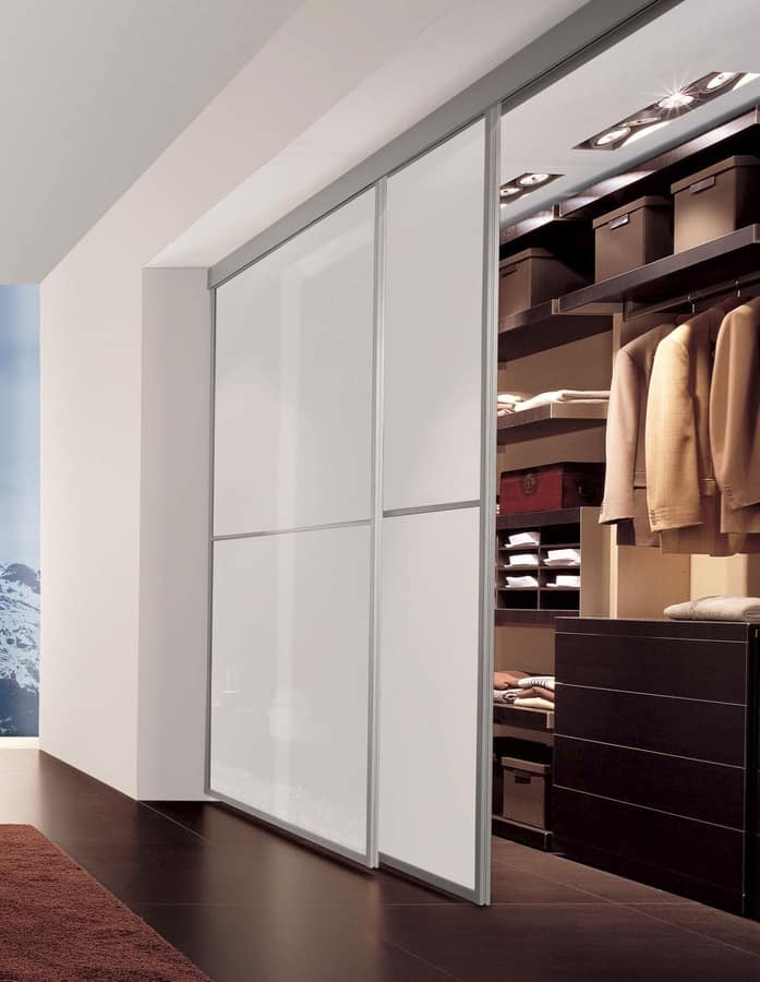 Porte scorrevoli con telaio in alluminio per cabina armadio | IDFdesign