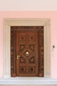Auriga, Portone in legno di rovere massiccio, intagli eseguiti a mano, ideale per castello o villa