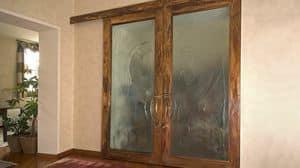 BAI.05, Porta in bronzo patinato, con pannelli in vetrofusione