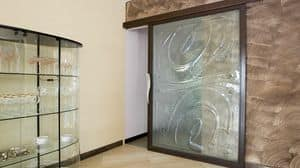 BAI.09, Porta scorrevole in acciaio, con vetrofusione trasparente
