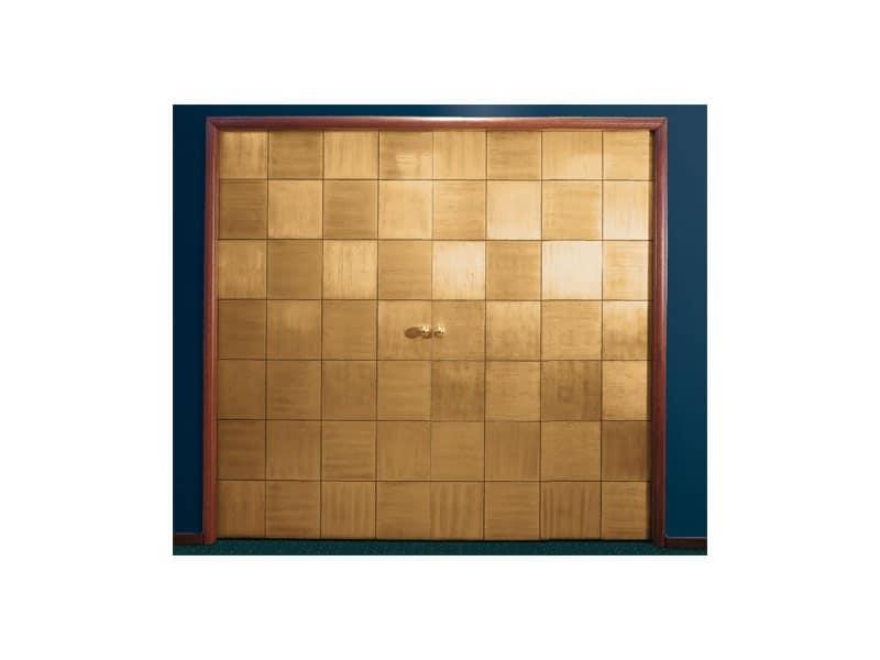 Century, Porta scorrevole a scomparsa, motivo a scacchiera, in foglia oro applicata a mano