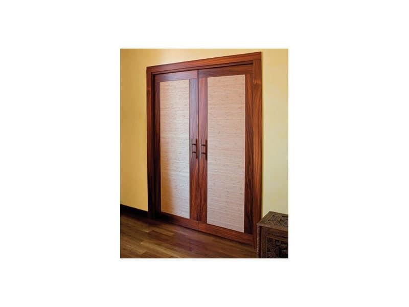 Luxury, Porta scorrevole a doppio battente a scomparsa, in legno di palissandro e tessuto ignifugo
