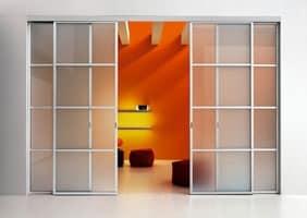 NAXOS porte scorrevoli, Porta scorrevole con binario, ante in vetro colorato