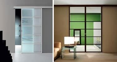 Porta scorrevole con binario ante in vetro colorato idfdesign - Porte scorrevoli con binario ...