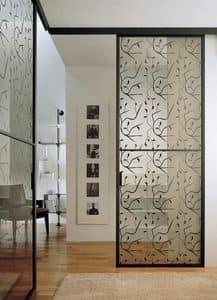 p100 buenos aires, Porta scorrevole in vetro per muratura, cornice in alluminio
