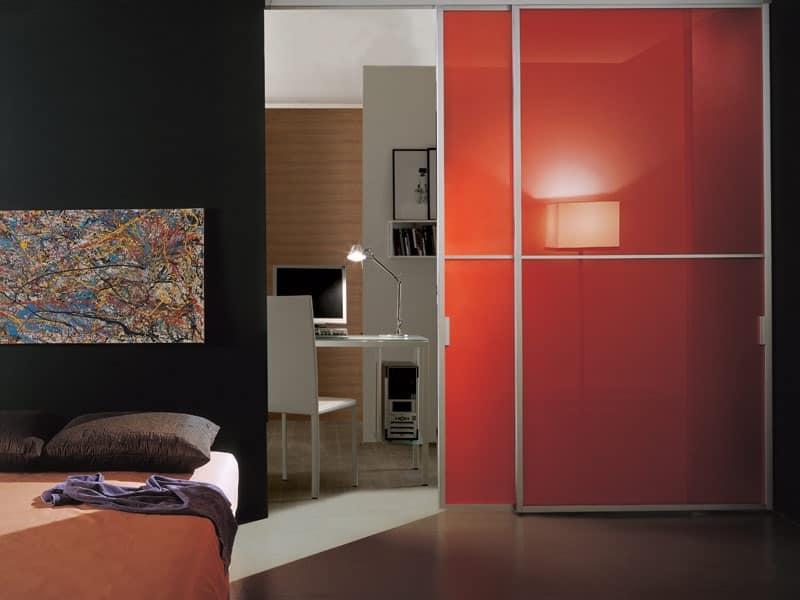 p100 lima, Porta scorrevole in vetro e alluminio, per la casa