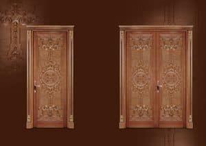 P100 Porta, Porta intagliata per Soggiorno in stile classico di lusso