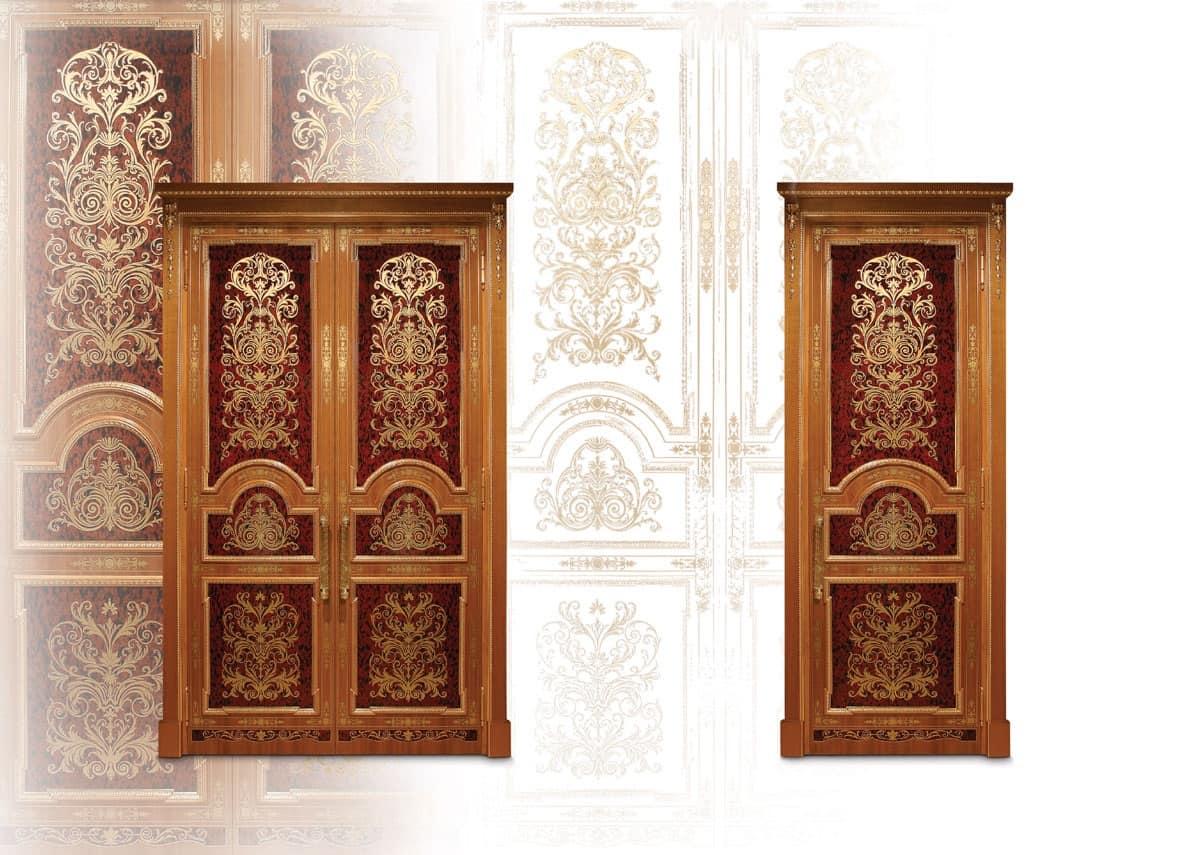 P105 Porta, Porta intarsiata con due battenti per Salotto classico