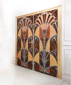 P109 Porta, Porta con due battenti in legno intarsiato, per uffici di lusso