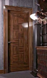 Popal1, Porta per muratura, in palissandro intarsiato, alta qualit�