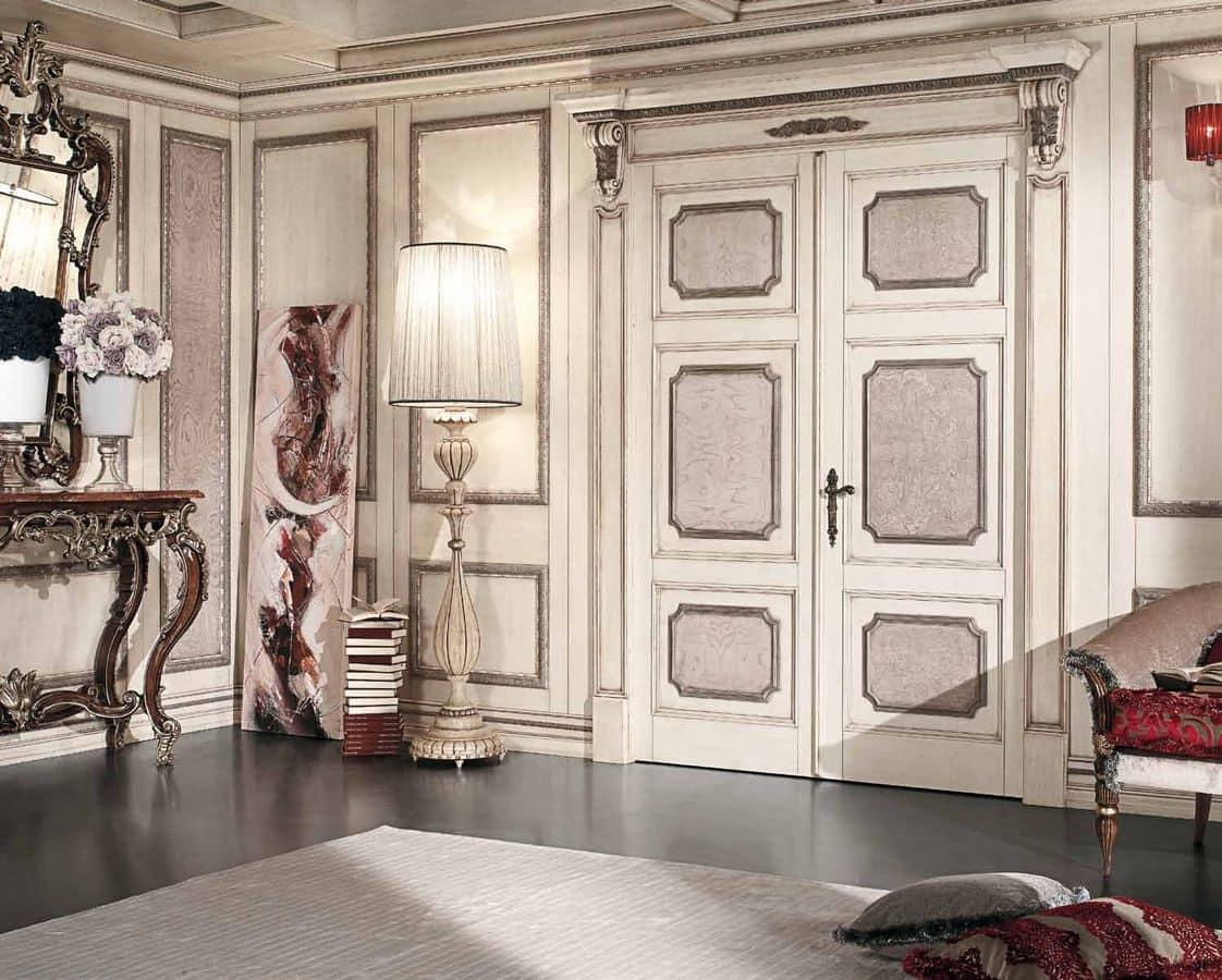 Porta per casa classica con due battenti in legno idfdesign - Interni casa classica ...