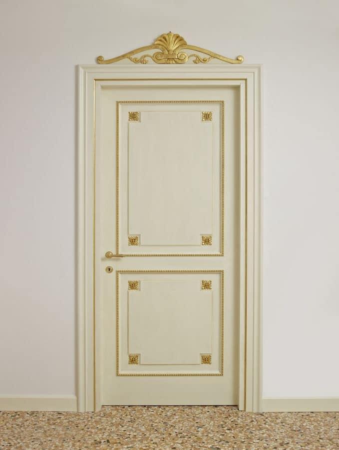 Porte laccate con decori dorati per alberghi di lusso - Decori in gesso per interni ...