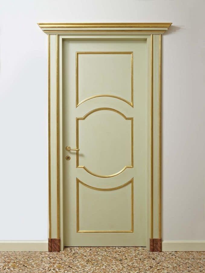 Porte laccate con decori dorati per alberghi di lusso idfdesign - Porte decorate antiche ...