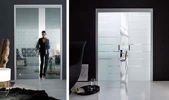 Porta a scomparsa in alluminio, ante in vetro | IDFdesign