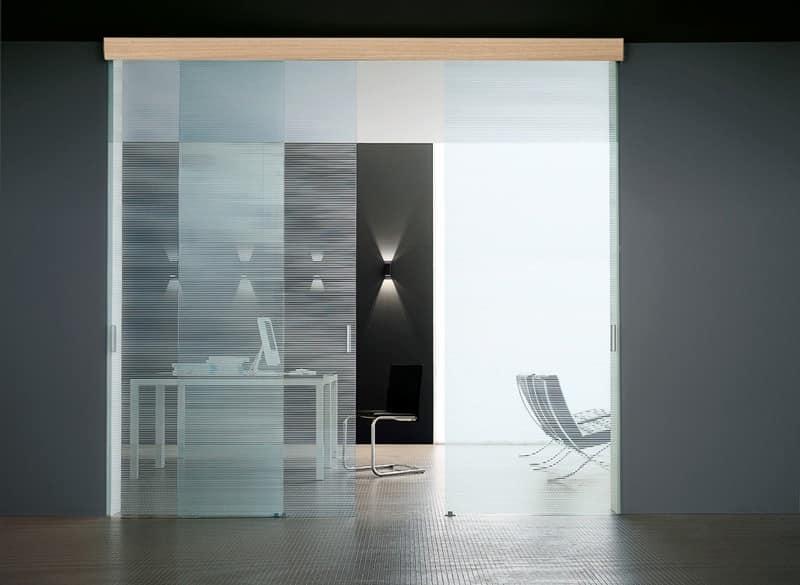 SIMPLEX porte scorrevoli, Porta in vetro temperato, scorrevoli, in varie finiture